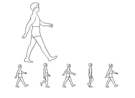 简笔画走路腰痛人物